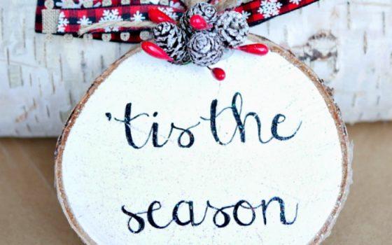 Sparkly Wood Slice Ornament – 2017 Ornament Exchange & Blog Hop