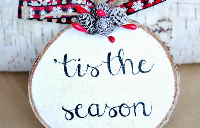 Sparkly Wood Slice Ornament – 2017 Ornament Exchange & Blog Hop