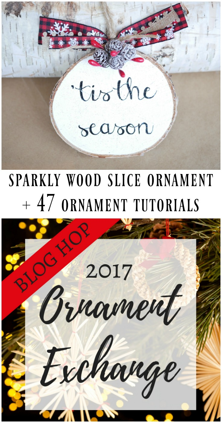 Sparkly wood slice ornament