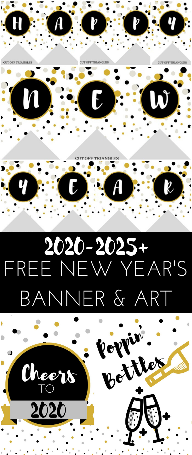 2020 Free New Year's Banner and Wall Art Printable