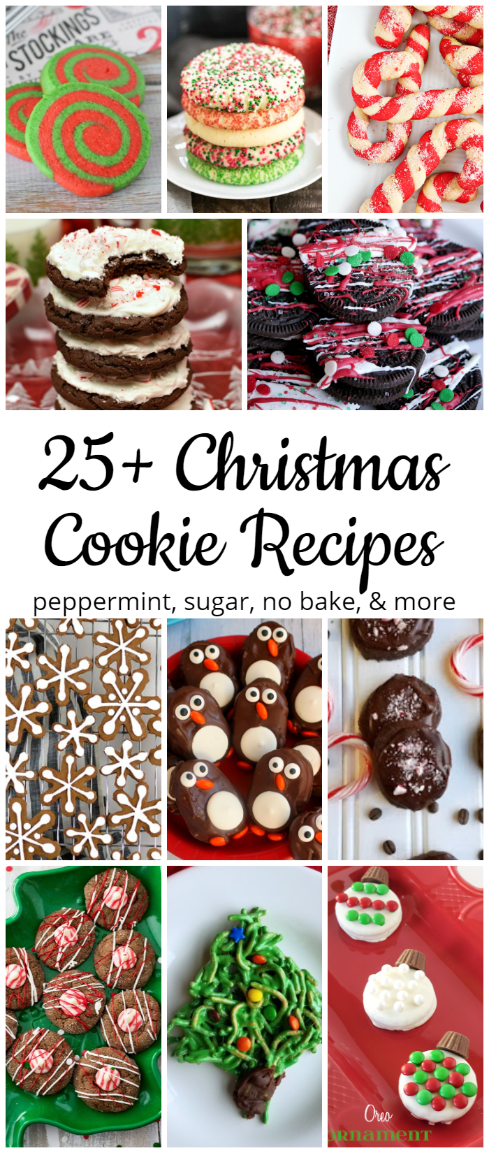 25+ Christmas Cookie Recipes - gingerbread, sugar cookies, peppermint, cocoa, no bake, and more! #Christmascookies #cookies