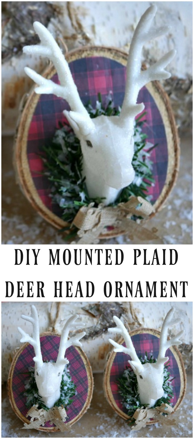 DIY Mountd Plaid Deer Head Ornament