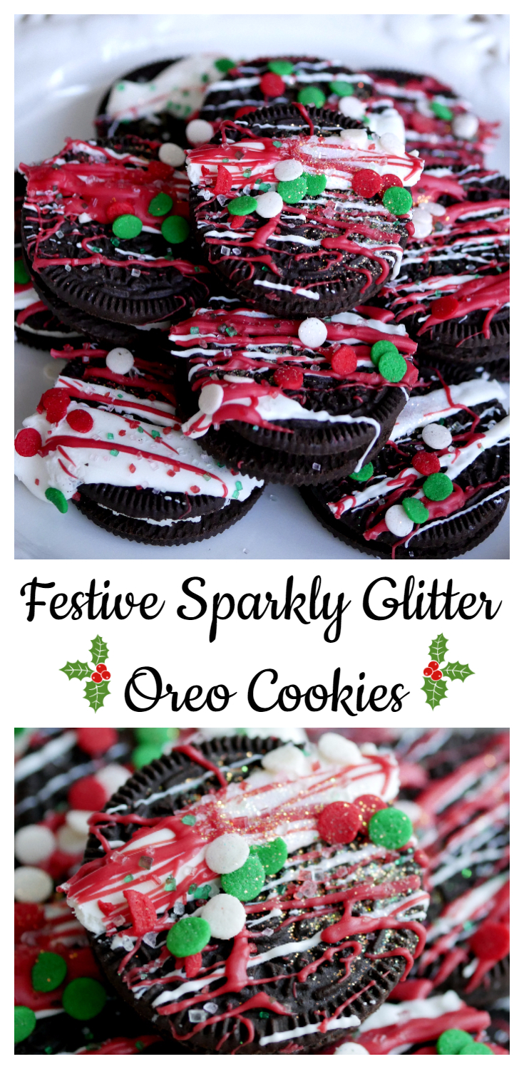 Festive Sparkly Glitter Oreo Cookies