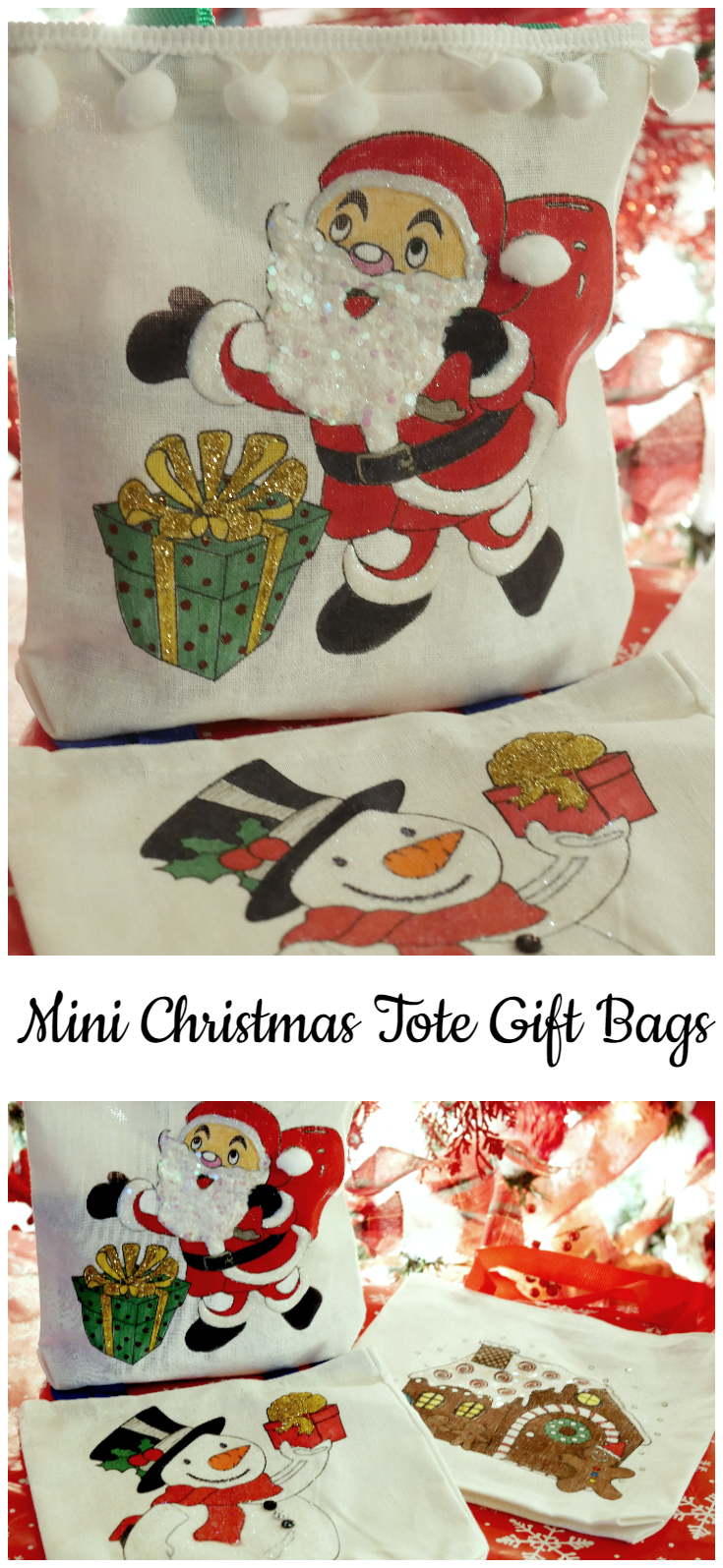 Mini Christmas Tote Gift Bags