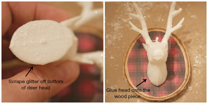 glue deer head to wood slice