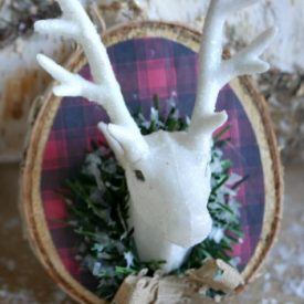 DIY mounted plaid deer head ornament