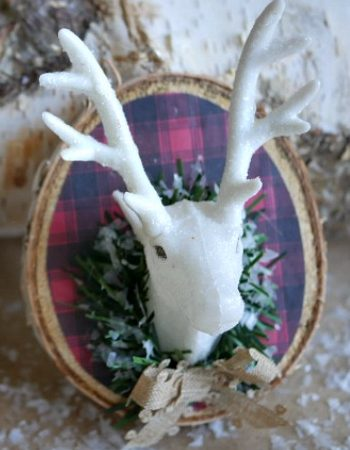 DIY Mounted Plaid Deer Head Ornament -12 Days of Christmas Blog Hop