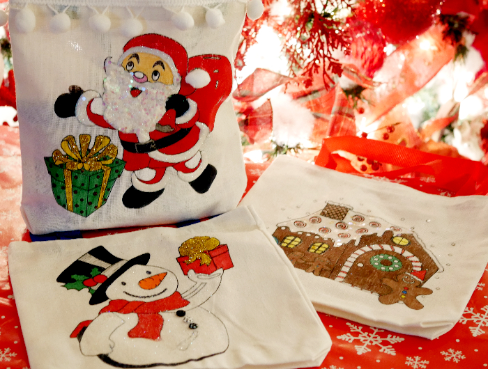 Finished Mini Christmas Tote Gift Bags - Santa, snowman, gingerbread house