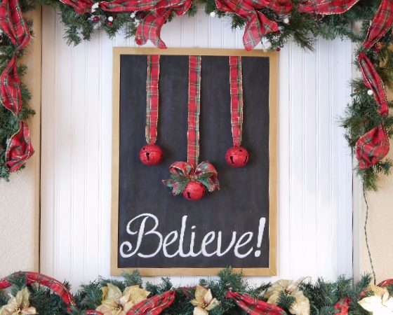Believe frame bell sign on mantel