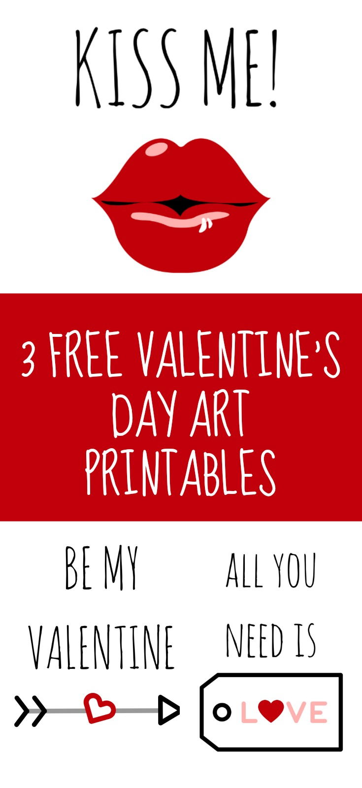 3 Free Valentine's Day Art Printables White