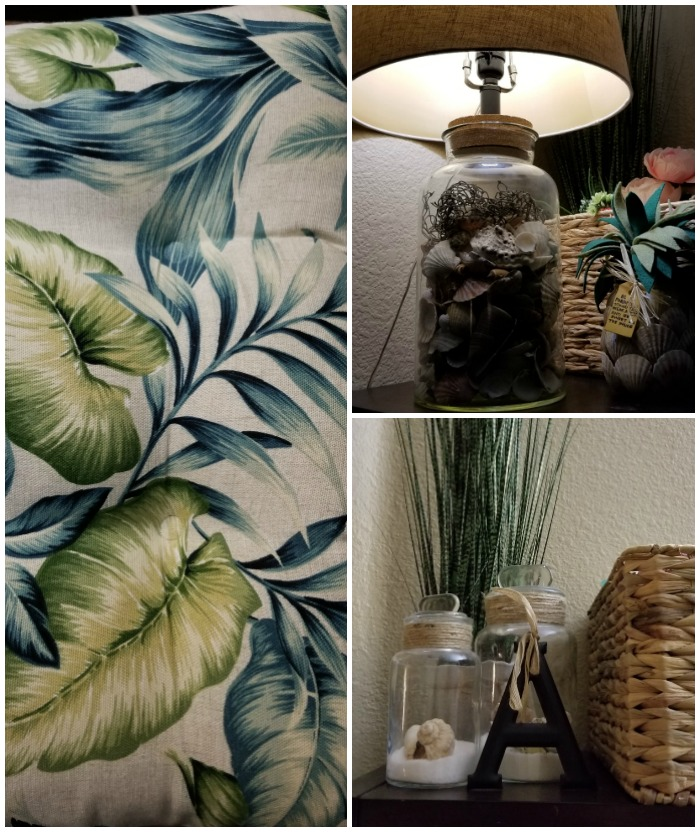 tropical craft room pillow pattern and decorative accents