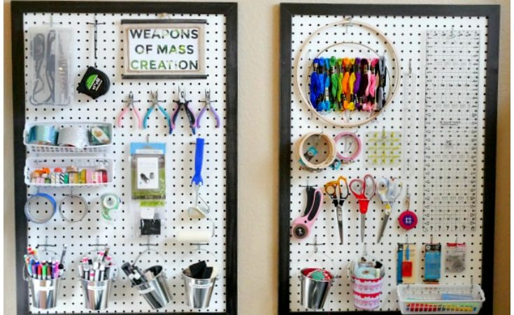 Easy framed peg board slider image with craft supplies hanging on it.