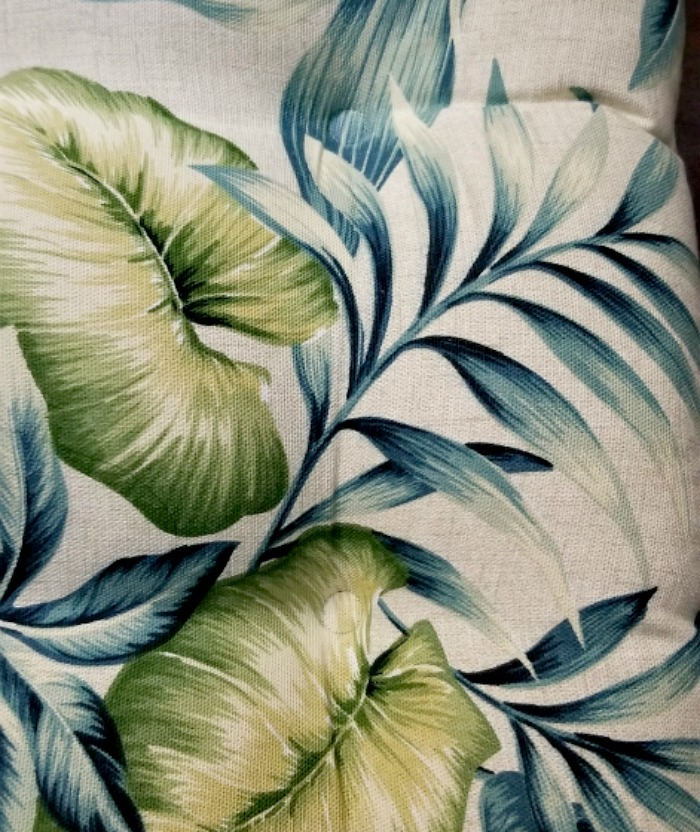 Tropical craft room pillow pattern closeup