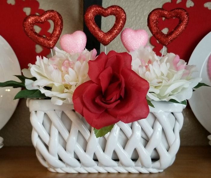Valentine's Day Glitter Hearts Floral Arrangement image