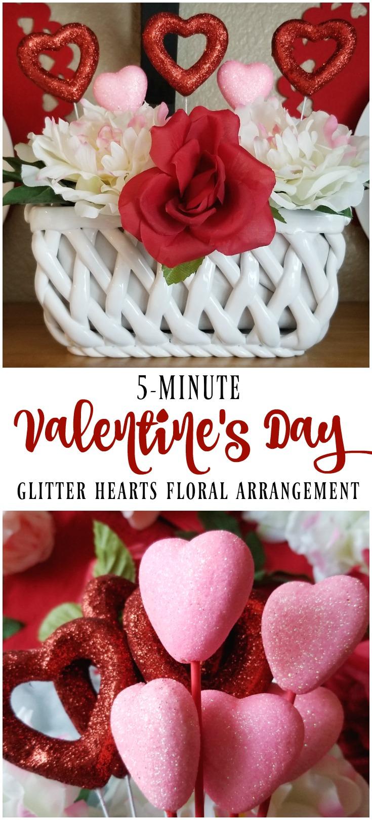 Valentine's Day Glitter Hearts Floral Arrangement