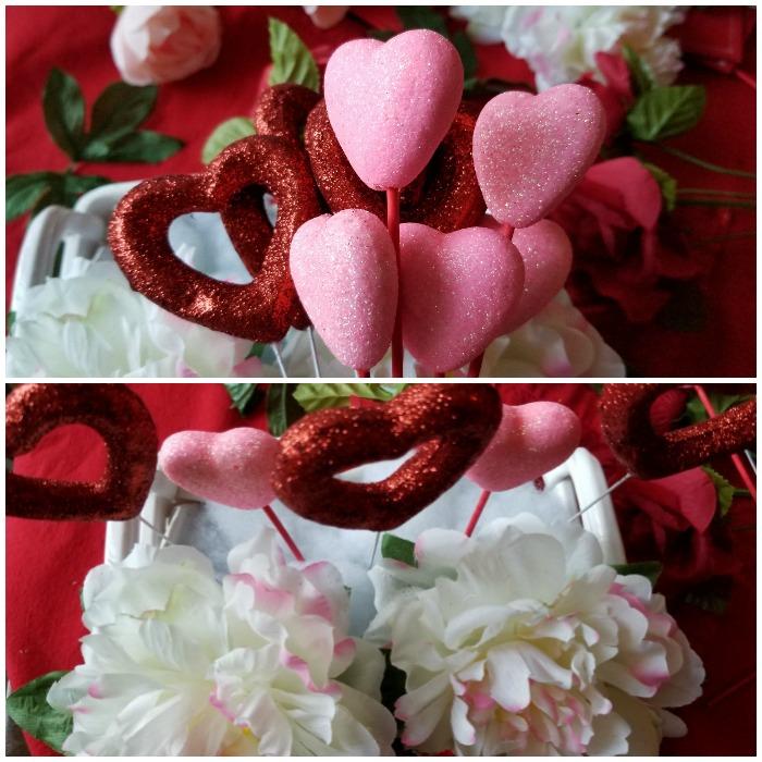 Valentine's Day Glitter Hearts Floral Arrangements picks