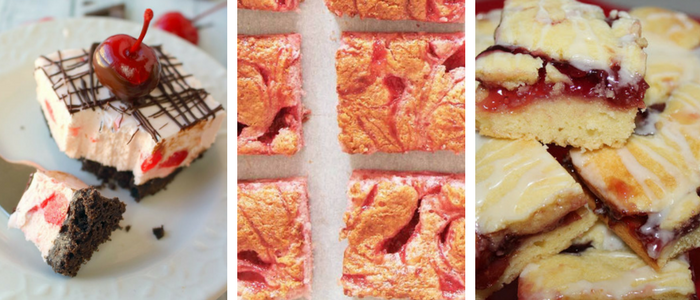 Cherry desserts - cherry cheesecake bars, cherry angel bars, and cherry republic bars
