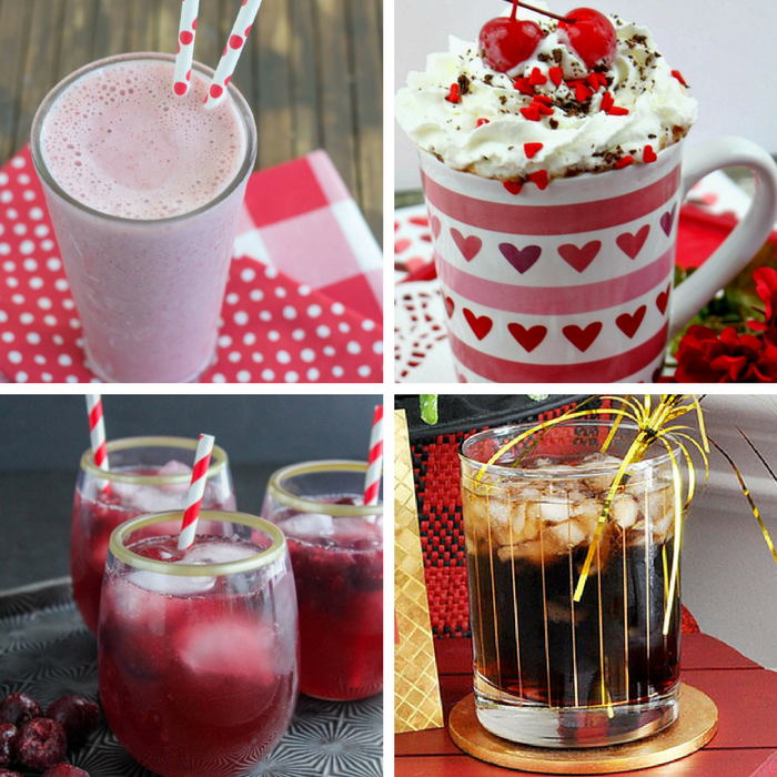 Cherry Drinks - cherry kefir smoothie, cherry hot cocoa, black cherry cocktail, and cherry coke vodka cocktail
