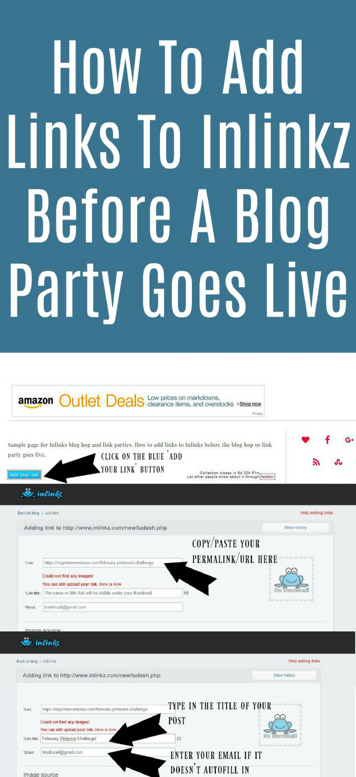 How to add links to Inlinkz before it goes live - how to add links to a blog hop or link party before it opens.