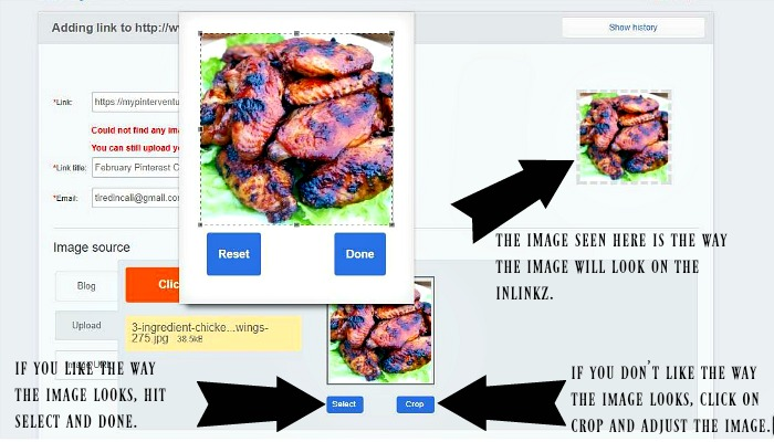 How to add an image to inlinkz before it goes live