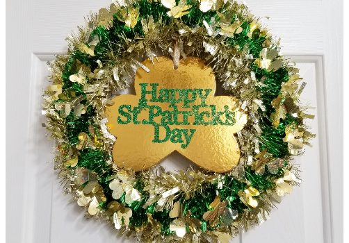 Dollar Tree St. Patrick's Day Garland Wreath – Pinterest Challenge