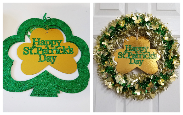 Dollar Tree St. Patrick's Day Garland Wreath with gold clover