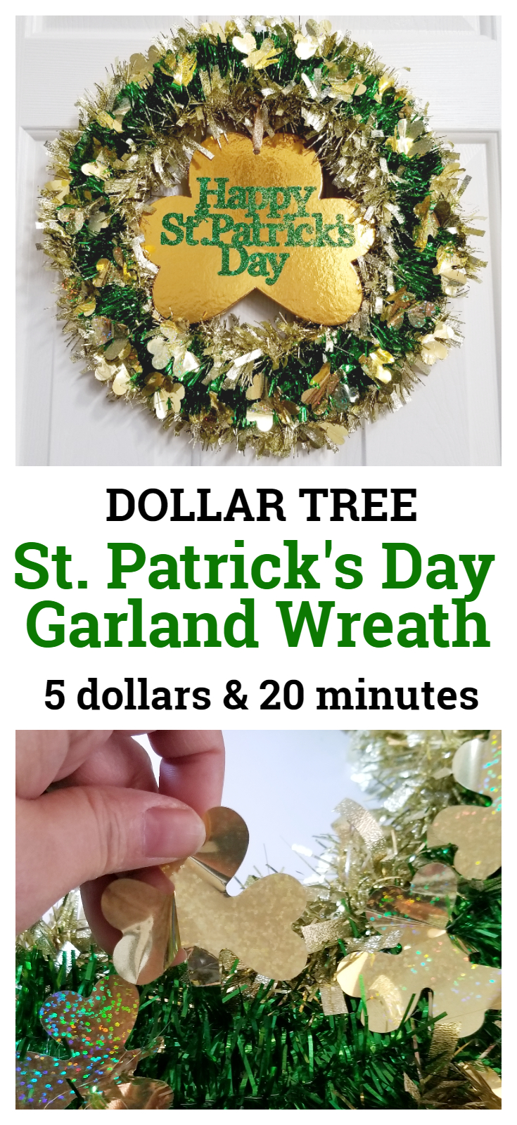 Dollar Tree St. Patrick's Day Garland Wreath with gold clover center