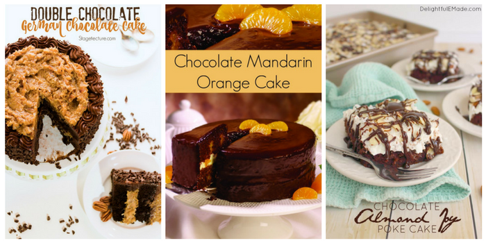 Ridiculously delicious chocolate cake recipes - double chocolate German cake, chocolate mandarin orange cake, and chocolate almond joy poke cake
