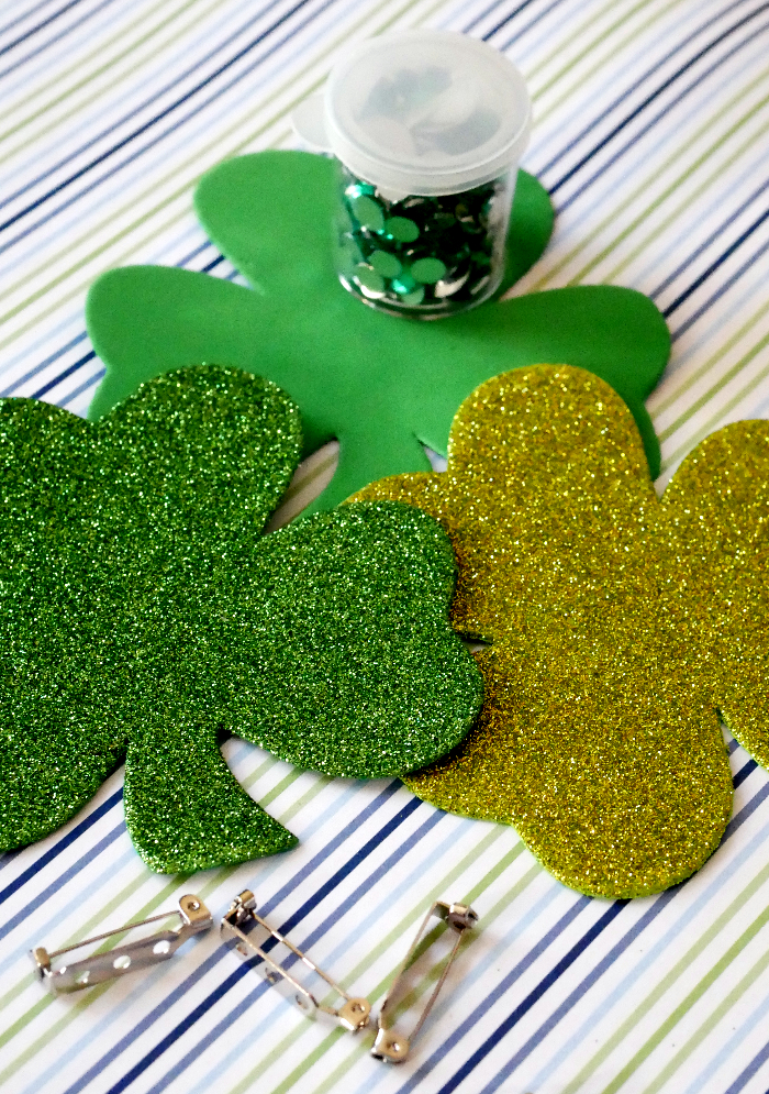 DIY St. Patrick's Day Shamrock Pin supplies