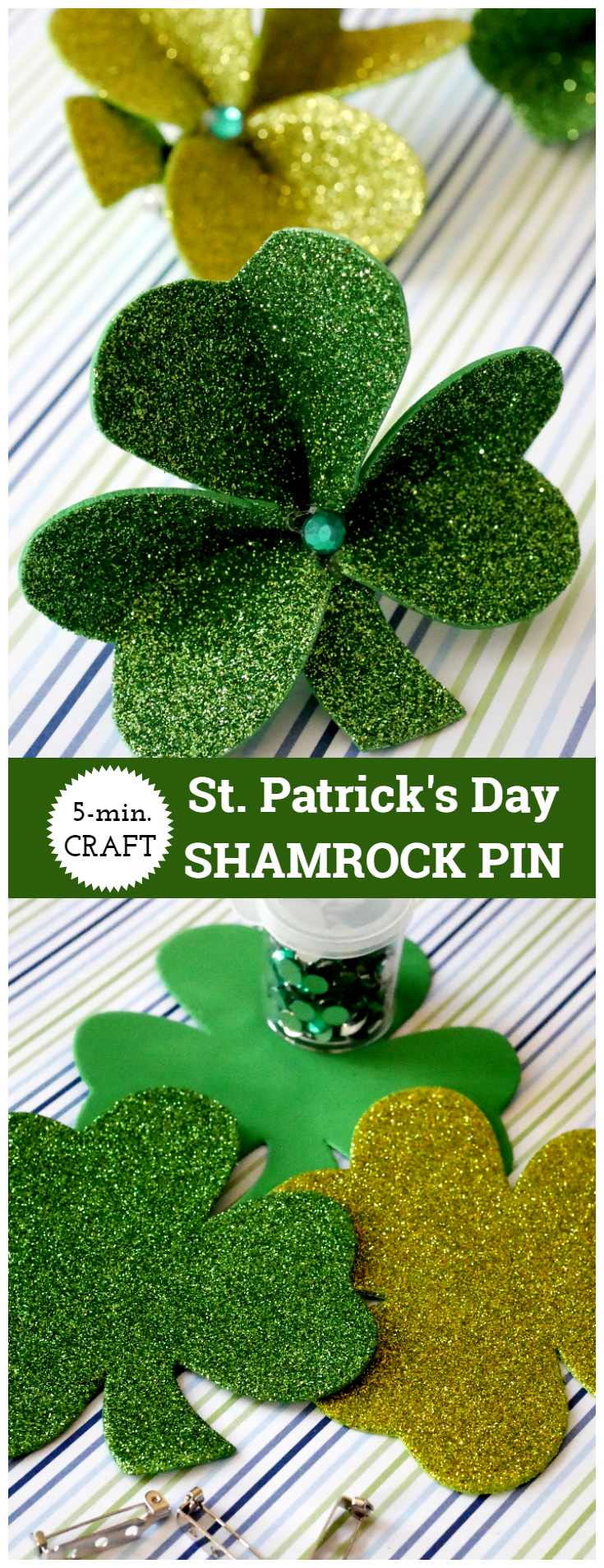 St. Patrick's Day Shamrock Pin made from Dollar Tree foam shamrocks, bar pin, and gems. Easy 5-minute craft