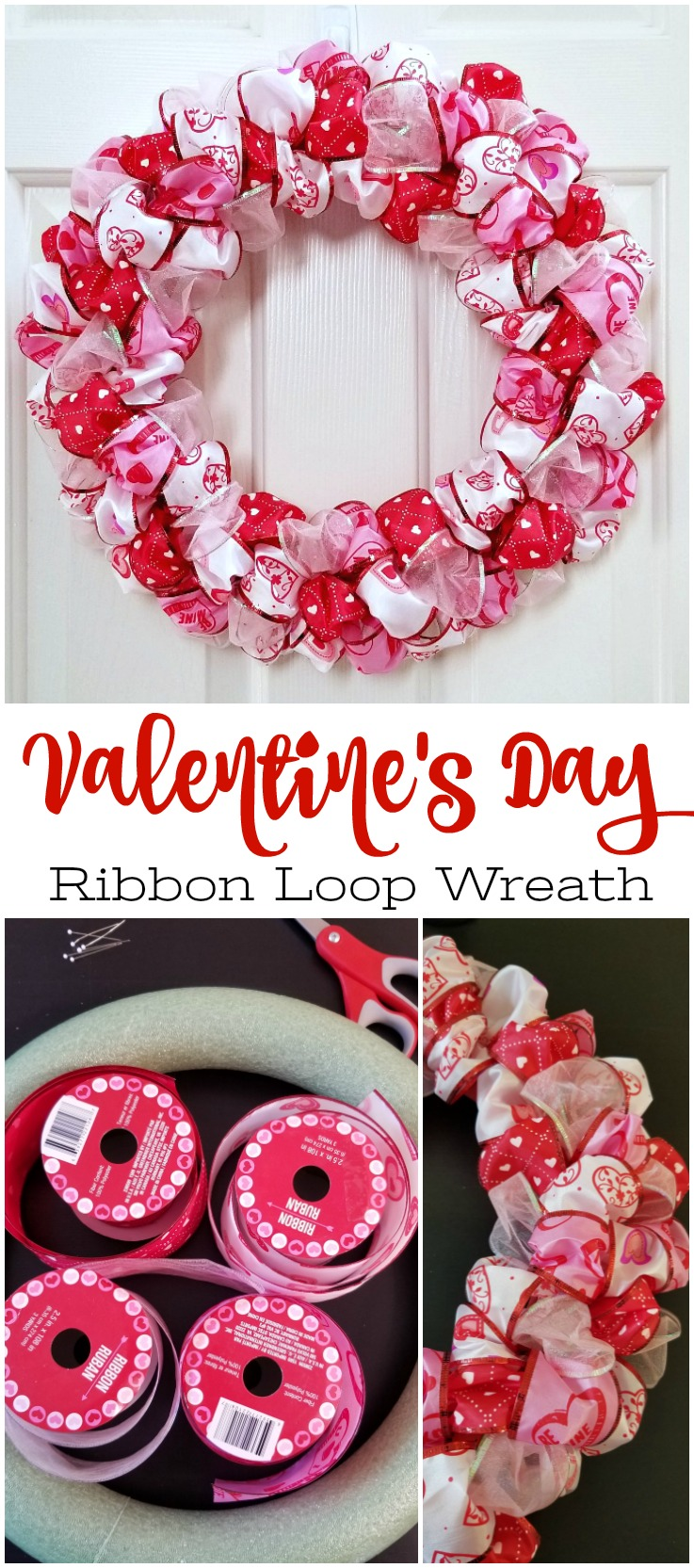 Valentine's Day Ribbon Loop Wreath made from wired ribbon, foam wreath form, red paint, and pins. #valentinesdaywreath #redwreath