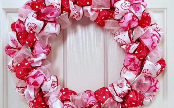Valentine's Day Ribbon Loop Wreath with Video Tutorial