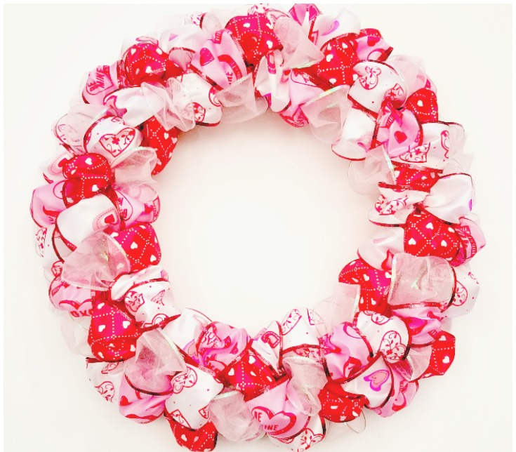 Finished Valentine's Day Ribbon Loop Wreath