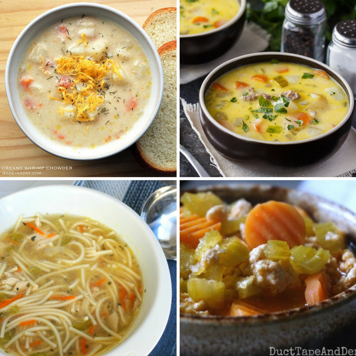 Winning Homemade Soups - Shrimp Chowder, Cheeseburger Chowder, Spaghetti Chicken Noodle Soup, and Buffalo Chicken Soup