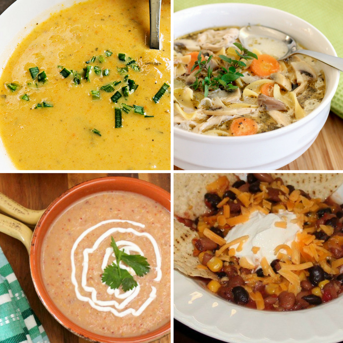 Winning Homemade Soups - Creamy Leek & Potota Soup, Chicken Noodle Soup, Chipotle Potato Soup, Meatless Taco Soup