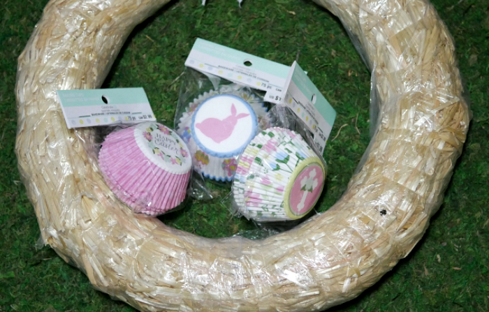 Cupcake liner flower wreath supplies