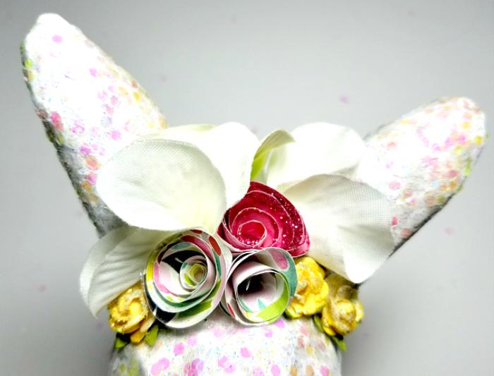 flowers on glitter spring bunny ears