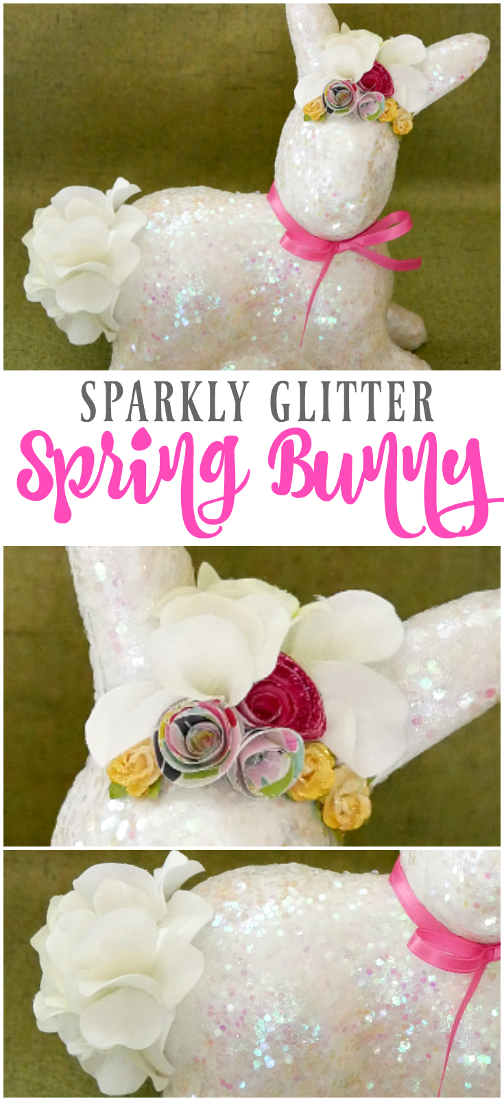 Sparkly Glitter Spring Bunny Craft Tutorial Diy Easter Decor