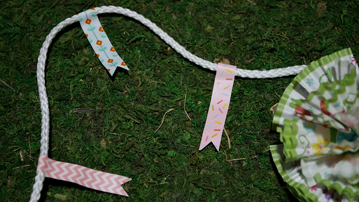 Spring cupcake liner flower garland washi tape flags