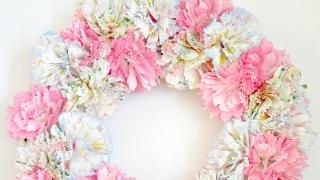 Spring Cupcake Liner Flower Wreath