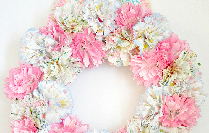 Spring Cupcake Liner Flower Wreath completed