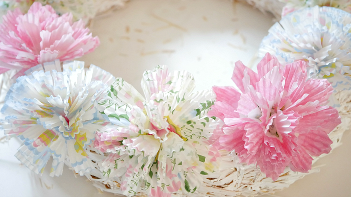 Spring cupcake liner flower wreath dry fit