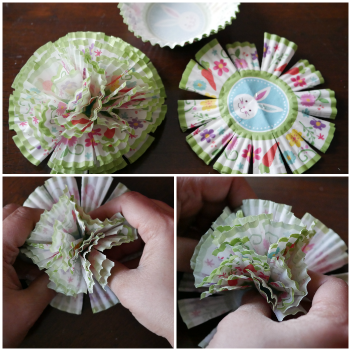 Spring cupcake liner flower garland flower shaping