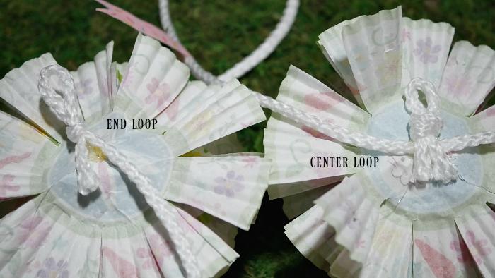 Spring cupcake liner flower garland loops