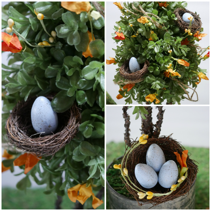 Spring topiary with bird nests closeup