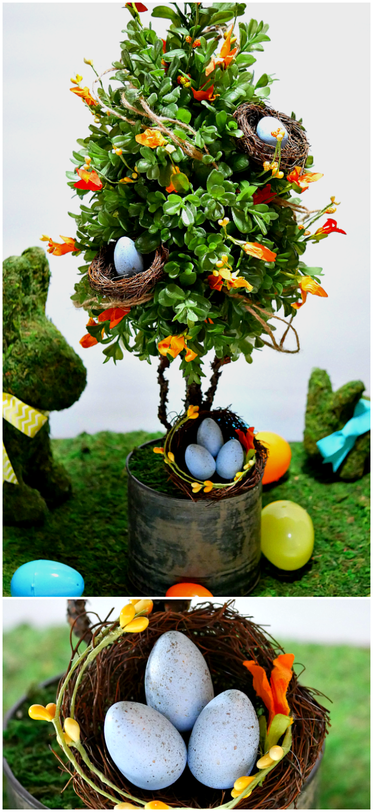 Spring Topiary with Bird Nests