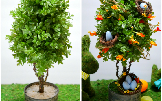 Spring Topiary with Bird Nests – Craft Room Destash Challenge
