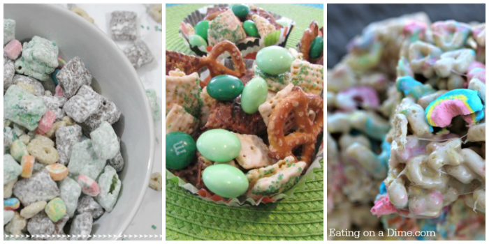 St. Patrick's Day Cooking with kids - muddy buddies, no-bake Leprechuan nibbles, and Lucky Charm marshmallow treats,