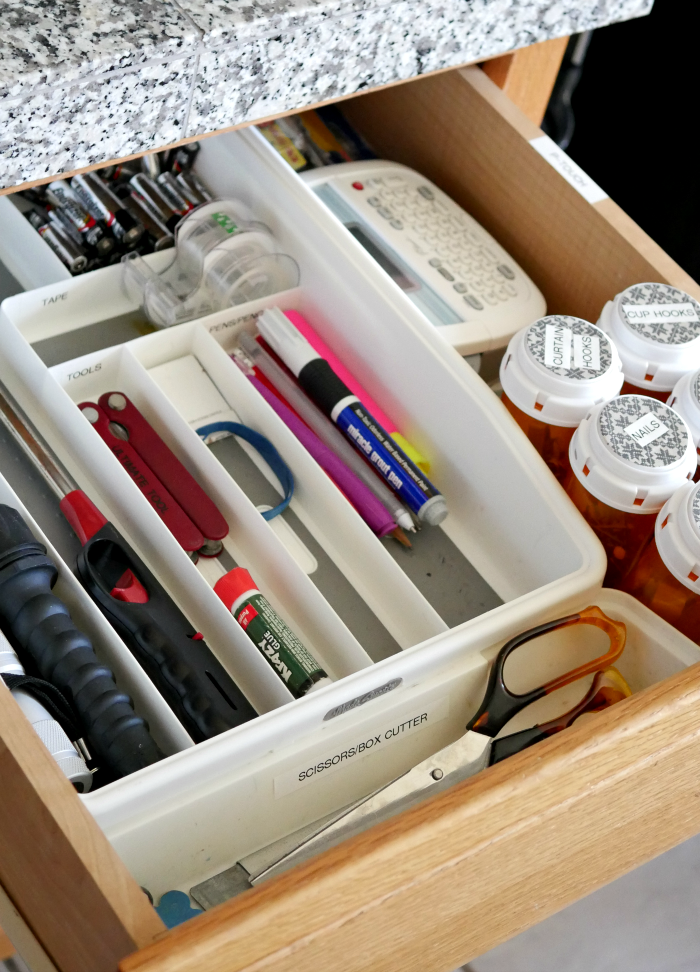 5-step junk drawer organization completed