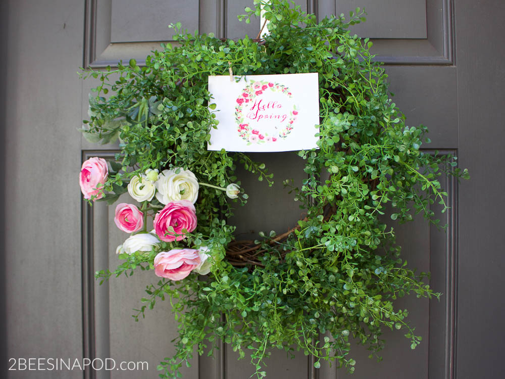 Spring Rnunculus Wreath with printable